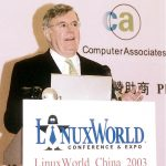 At the Linux World China in 2003.